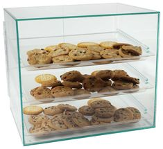 Pastry Display Case With Angled Removable Trays, Hinged Magnetic Doors, Countertop, Green Edge Acrylic, 19 x x Food Displays, Merchandising Displays, Pastry Display, Puppy Store, Small Bakery, Countertop Organization, Cupcake Display, Plastic Trays, Brownie Bar