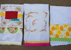 gorgeous tea towels made with vintage hankies and trim