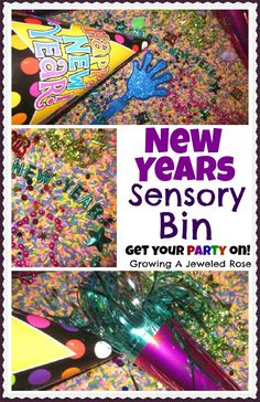 New Years Eve party bin- a fun way for little ones to celebrate the new year!