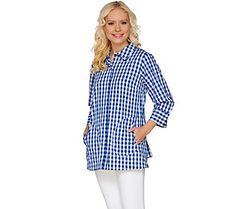 Joan Rivers Gingham Boyfriend Shirt with 3/4 Sleeves
