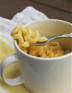 QUIT buying easy mac people! Instant Mug o Mac Cheese in the Microwave: 1/3 cup pasta, 1/2 cup water, 1/4 cup 1% milk, 1/2 cup shredded cheddar cheese