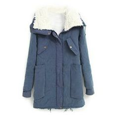 Coats - Pocketed Drawstring Long Sleeves Blue Coat #pariscoming your personal style online store. #outfit #stylist #Styling #streetstyle #fashionblog #fashiondiaries #fashiondiary #WearIt #WhatYouWear ✿ ❀ like it? buy now ❀ ✿