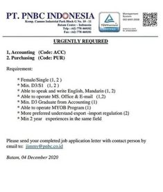 Lowongan Kerja Batam PT. PNBC Indonesia (7/12/2020) Batam, Coding, Writing, Being A Writer, Programming