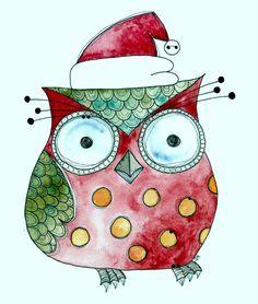 ChristmasOwlWatercolor3.jpg (1250×1477)