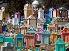Chichicastenango, Guatemala Chichicastenango Cemetery One of the world's most colorful cemeteries, where each pigment is symbolic. Cemetery Headstones, Old Cemeteries, Cemetery Art, Graveyards, Honduras, Belize, Costa Rica, Tikal, West Indies