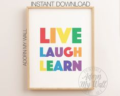 Live Laugh Learn Print, Rainbow Colour Wall Art, Rainbow Printable, Rainbow Nursery Decor, Scandi Nursery Wall Art, Rainbow Colour Prints