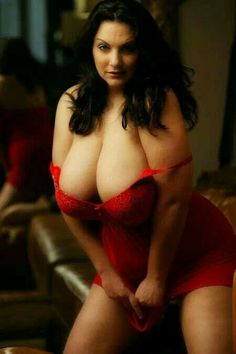 Dark haired lady in red lingerie
