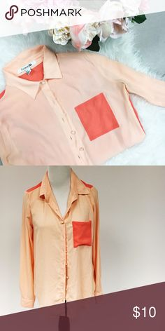 Two-Toned Pink Blouse Light pink & coral two-toned blouse, perfect for adding a pop of color to any work outfit! Forever 21 Tops Blouses