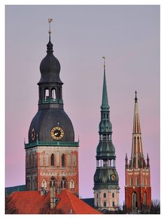 Towers of RIGA, Latvia. Travel in Latvia (EU) and learn fluent Russian with the Eurolingua Institute http://www.eurolingua.com/russian/russian-homestays-in-latvia