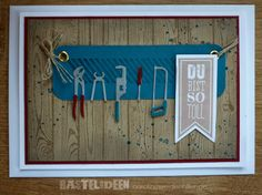 Vatertagskarte Farben: Savanne, Petrol, Chilli Stempelset: Gorgeous Grunge, Hardwood, Wimpeleien Stampin'Up