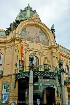 Municipal House, Prague. Today, the building is used as concert hall, ballroom, civic building, and as the location of cafes and restaurants.  There is a mosaic called Homage to Prague by Karel Špillar over the entrance. Czech Republic. (V)