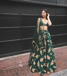 wore the Field Bustier x Dahlia Green Skirt for a Punjabi reception in Calgary this past week 😍😍 . Love how she mixed and… Indian Lehenga, Lehenga Choli, Anarkali, Saree, Punjabi Lehenga, Lehnga Dress, Indian Bridal Outfits, Indian Designer Outfits, Lehenga Designs