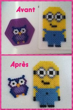 Minion and owl hama beads by Jessica Corbeil