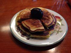 Ordinary pancakes with chestnut shibukawa-ni on top