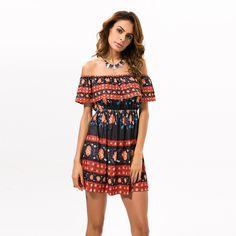 Dress Women Summer 2017 Summer Bohemian Short Mini Dress Beach Tunic  Ruffles Off Shoulder Sexy Loose Print Floral Dresses 7562d9287181