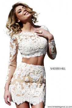 620d8381434f Sherri Hill 21371 Lace Two Piece Dress - Stunning Sexy 2 piece Dress Good  for a dress change at the reception