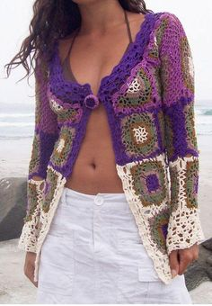 Granny inspired crochet cardigan from Etsy