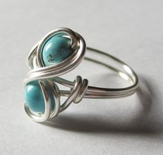 Turquoise Infinity Ring Custom Size Silver Wire by DistortedEarth