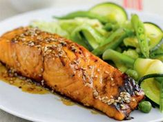 I'm checking out a delicious recipe for Soy-Free Teriyaki Salmon from Kroger! Oven Chicken Recipes, Seafood Recipes, Fish Recipes, I Love Food, Good Food, Healthy Diners, Healthy Cooking, Healthy Recipes, Teriyaki Salmon