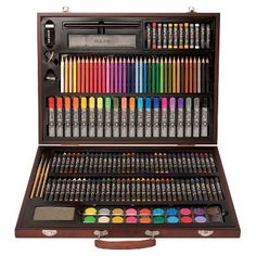 With a convenient wooden case and a large assortment of art supplies, this Art 101 Wood Art Set is perfect for your little Picasso. Colores Faber Castell, Art Du Croquis, Art Supplies Storage, Stationary School, Cute School Supplies, Wooden Case, Wood Art, Colored Pencils, Stationery