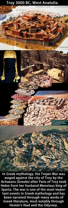 Troy 3000BC - 500AD (Ancient Greek: Τροία, Troia;) was a city, both factual and legendary, in northwest Anatolia, south of the southwest end of the Dardanelles / Hellespont and northwest of Mount Ida. It is best known for being the setting of the Trojan War described in the Greek Epic Cycle and especially in the Iliad, one of the two epic poems attributed to Homer. Mycenaean, Minoan, Greek History, Ancient History, Ancient Troy, City Of Troy, Trojan War, Archaeological Site, Prehistory
