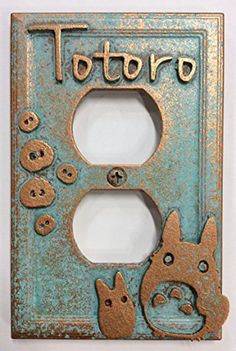 My Neighbor Totoro - Outlet Cover (Aged Patina) - My Neighbor Totoro - Outlet Cover. Aged Copper in color, Patina paint effect. Includes Screw painted to match Is a faux finish, not real metal. Totoro Nursery, Patina Paint, Paint Effects, My Neighbor Totoro, Outlet Covers, Light Switch Covers, Plates On Wall, Furniture Decor, Craft Supplies