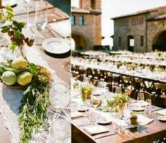 Like the use of herbs and olives down the center of the tables