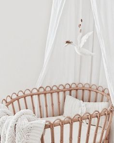 Sharing with you all my latest swan mobile I've made! I will have a shop update soon with more baby mobiles etc! Check out Fauna Lune for more nursery inspiration! Pottery Barn Rattan Bassinet, Baby m Baby Bedroom, Nursery Room, Girl Nursery, Kids Bedroom, Nursery Decor, Boho Nursery, Disney Nursery, Vintage Nursery, Pottery Barn Nursery