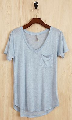 This shabby-look, perfectly-imperfect, deliberately cut lightly lopsided, V-neck tee in a pretty, vintage burn-out wash is the perfect compl...