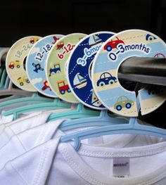 potatopatch baby clothes closet dividers - These are for sale $13.50 per pack - Great gift idea - Wonder if I could easily make from plastic lids and fusible fabric.