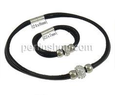 Mode Schmuckset, Armband & 2, mit Strass Ton befestigte Perelen, Platinfarbe platiniert, 2 strängig, schwarz