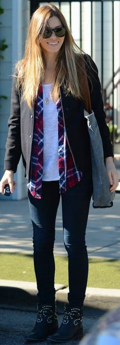 jessica biel  Who made  Jessica Biels red plaid shirt, black jacket, and black studded ankle boots?
