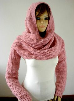 KNITTING Hood PATTERN Knitted Hodded Scarf with by LiliaCraftParty