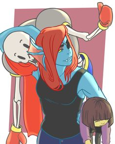 Papyrus Frisk and Undyne by three-legged-cow
