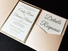 This listing is for a sample of a layered pocketfold wedding invitation with a glitter cardstock backing enclosed in a pocketfold with a glitter belly band and a foil tag embellishment. Please note th