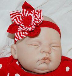Baby Infant Girls Red CHRISTMAS Flower Headband