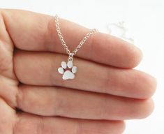 Paw Print Necklace Pendant - Sterling Silver - Cats and Dogs Paw