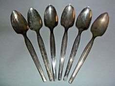 Vintage Set of 6 Wm Rogers Mfg Co Silver Plate Grapefruit Spoons 1950 Dinnerware #WmRogersMfgCo #WmRogersMfg