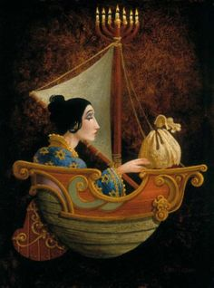 """""""Judith & Holofernes,"""" 2005, by James C. Christiansen:  http://www.greenwichworkshop.com Judith Robinson writes, """"Christensen has many depictions of human & magical beings in flight, sometimes in a boat. This work shows Judith taking flight with Holofernes' head in a bag aboard a fanciful catboat whose mast is topped by a Menorah – wearing a blue robe with the Star of David design. While many of Christensen's images relate to the celebration of Christmas...,"""""""