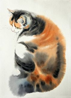 "Buy August's cat, a Watercolor on Paper by Olga Flerova from Russia. It portrays: Cats, relevant to: watercolor, cat, cats, animals, nature Watercolor technique: wet-in-wet Materials: paper-Saunders Waterford 300gr, watercolors- Winsor&Newton Made in 2016 as part of a series of 12 cats.1 cat-1 month. I like to draw the ""object"" in just a few smooth brush movements. Minimum fine lines, a few bright spots of color for maximum effect."