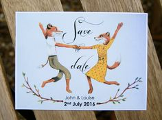 Fantastic Mr. Fox themed Save the Date cards!  These cute Save the Dates are based on an original acrylic painting of the celebration closing scene
