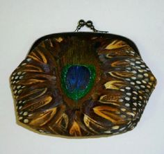 Vintage Peacock Pheasant Feather Coin Change Purse Snap Closure #Unbranded