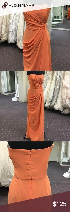 Orange Chiffon Gown Draped chiffon style in the front, back center invisible zipper, no train Dresses Strapless