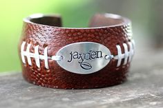 Items similar to FOOTBALL FANS Football Bracelet with Handstamp of jersey number or Name on Etsy Football Spirit, Football Cheer, Football And Basketball, Football Fans, Football Season, Baseball Teams, Football Stuff, Football Parties, Football Birthday