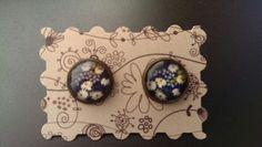 Handgemacht Cabochon Ohrringe Ohrstecker Blumenwiese blau bronze 12mm Handmade