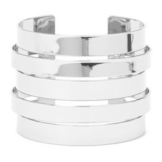 Forever 21 Cutout Cuff ($6.90) ❤ liked on Polyvore featuring jewelry, bracelets, stacking bangles, forever 21 bangle, cuff bangle, cuff jewelry and cut out jewelry