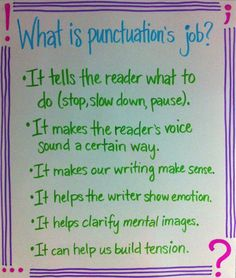 What is punctuation's job? Anchor chart. Classroom idea.