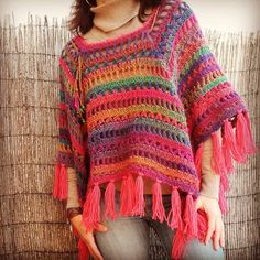Crochet Poncho minus the tassels...maybe a scalloped edge