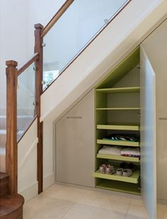 Add some extra cupboards under the stairs - ideas for a hallway alcove