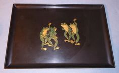 Vintage Large Couroc California Dancing Frogs Serving Tray